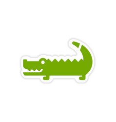 Paper sticker australian crocodile on white vector