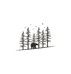 vintage hand drawn forest concept with bear black vector image vector image