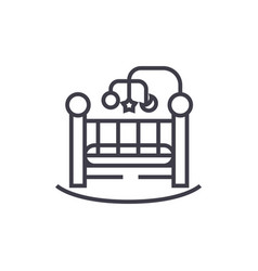 baby bedcrib line icon sign vector image