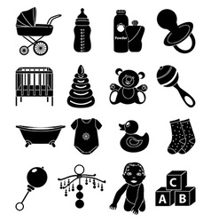 Baby toys icons set vector image vector image