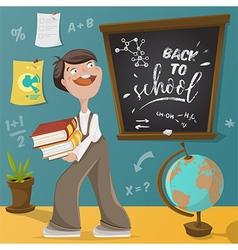 back to school schoolboy and school supplies vector image