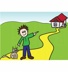 boy with cat vector image vector image