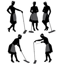 Charwoman silhouette vector