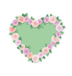 Heart frame decorated with roses isolated on vector