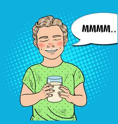 pop art happy boy with glass of milk vector image vector image