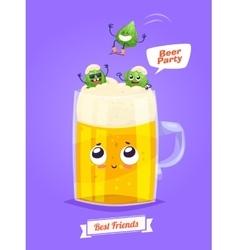 Set of beer characters cute cartoons vector