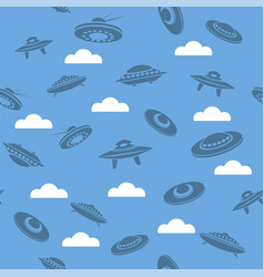 Space ship silhouettes seamless pattern vector