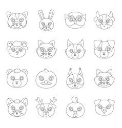 animal muzzle set icons in line style big vector image