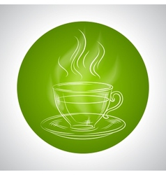 Design with cup of tea and place for text vector image