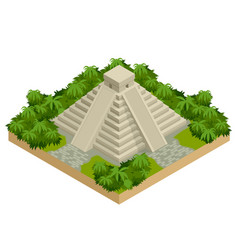 isometric mayan pyramid isolated on white vector image