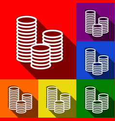 money sign set of icons with vector image