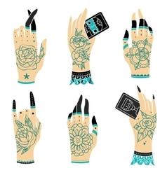 Old school tattoo hands vector