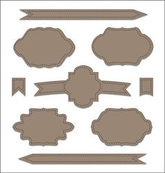 Set leather ribbons vintage labels geometric vector image vector image