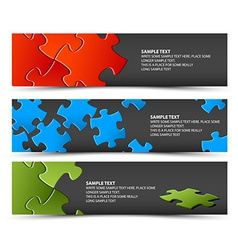 Set of dark puzzle horizontal banners vector image vector image