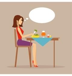 Slender girl eating salad vector image vector image