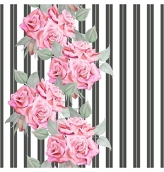Watercolor red roses seamless pattern with stripes vector image