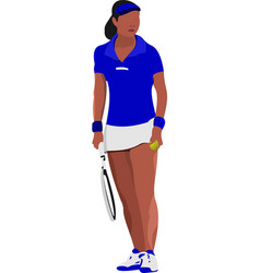 woman tennis player poster colored for designers vector image