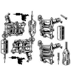 graphic black and white tattoo machine set vol 1 vector image