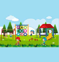 playground scene with happy children at daytime vector image vector image