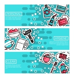 Set of horizontal banners about personal hygiene vector