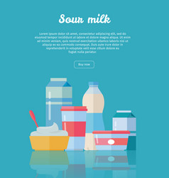 set of traditional dairy products from sour milk vector image