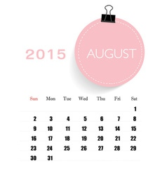 2015 calendar monthly calendar template for August vector