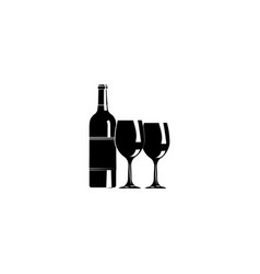a bottle of wine and glasses wine and glasses vector image