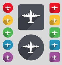 aircraft icon sign A set of 12 colored buttons and vector image