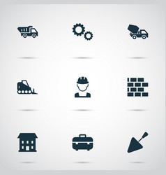 architecture icons set with bulldozer tipper vector image