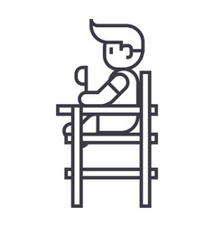 baby boy sitting on high chair line icon vector image