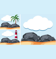 Background scenes with lighthouse and rocks vector