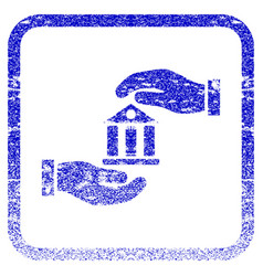 Bank service framed textured icon vector