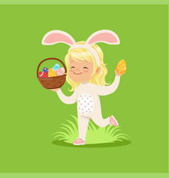 Beautiful little girl with bunny ears and rabbit vector