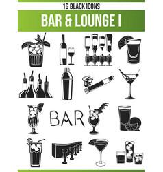 Black icon set bar lounge i vector