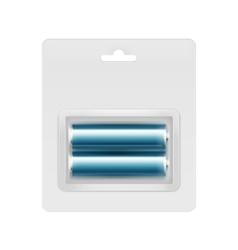 Blue Alkaline AA Batteries in Blister for branding vector