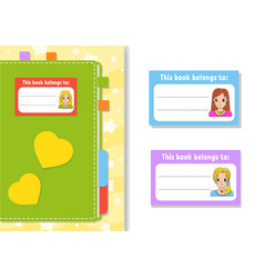Book label stickers for kids beautiful girls the vector