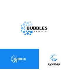 Bubbles logo set web analytics app logotype vector
