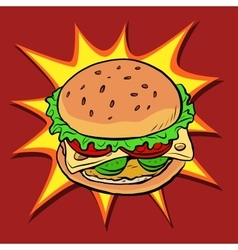 Burger fast food retro pop art vector image