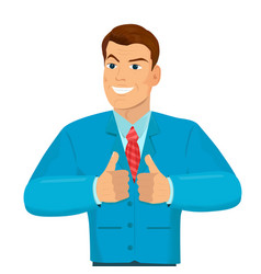 businessman shows both hands a sign thumb up vector image