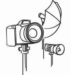 Camera photo umbrella and flash vector