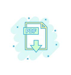 cartoon colored pdf icon in comic style pdf vector image