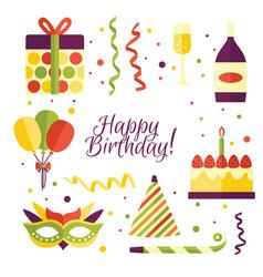 Cartoon set of birthday party items decorations vector