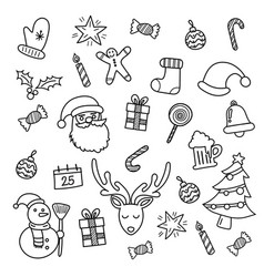 christmas doodles hand drawn vector image