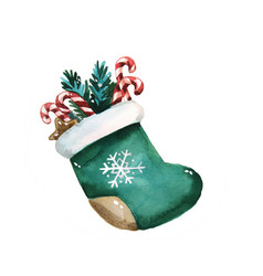 Christmas sock with presents hand drawn vector