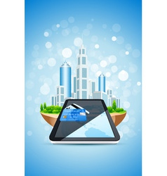 city island credit card and tablet pc vector image