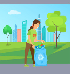 Cleaning up environment woman collect garbage vector