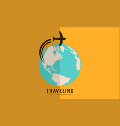 Collection of travel on the world style vector