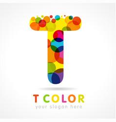 colored t logo concept vector image