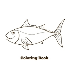 Coloring book tunny fish cartoon educational vector image