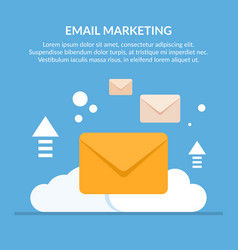 concept of email marketing mail envelopes against vector image